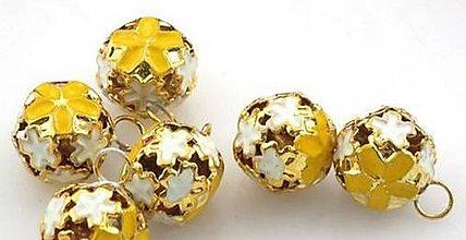 Galantéria - Veľké zlaté roľničky gravírované s kvietkom 15mm - 5719186_