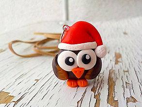 Náhrdelníky - vianočná sovička - prívesok - 5720693_