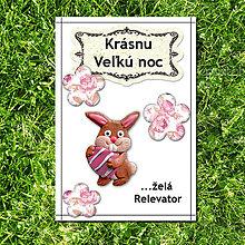 Papiernictvo - Veľkonočná pohľadnica - FIMO zajačik s vajíčkom - 5717664_