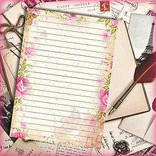 Papiernictvo - List vzor - vintage romantický kvetový - 5721542_