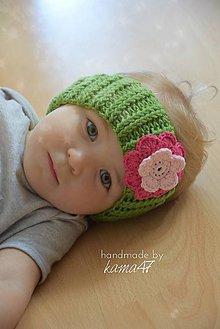Detské čiapky - Háčkovaná čelenka...