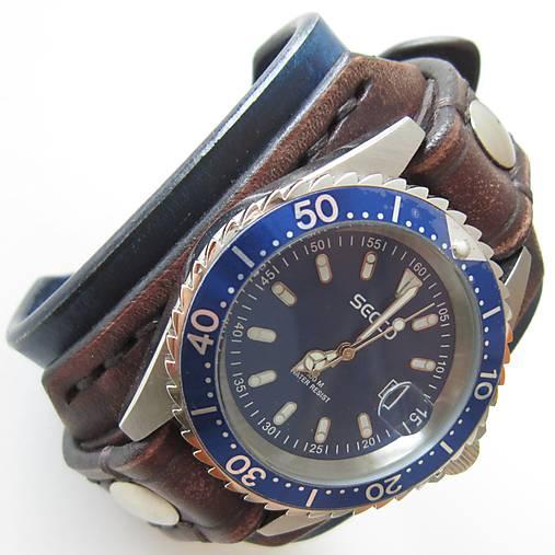a2b6f3103a9 Pánske kožené hodinky modro hnedé   leon - SAShE.sk - Handmade Náramky