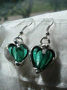 Náušnice - Smaragdové srdiečka- náušnice tiffany - 5729061_