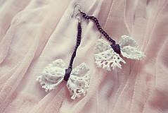 Náušnice - Biele čipkové mašličky-náušnice :) - 5729025_