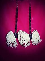 Náušnice - Biele čipkové mašličky-náušnice :) - 5729027_