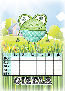 Papiernictvo - Linajková podložka a rozvrh hodín v jednom (2) - žaba - 5727153_