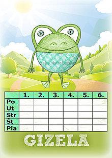 Papiernictvo - Linajková podložka a rozvrh hodín v jednom (3) - žaba - 5727445_
