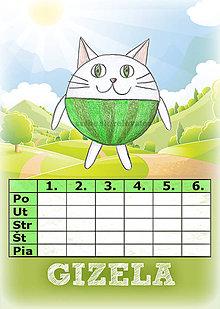 Papiernictvo - Linajková podložka a rozvrh hodín v jednom (3) - mačka - 5727449_