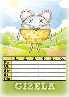 Papiernictvo - Linajková podložka a rozvrh hodín v jednom (3) - myš - 5727456_