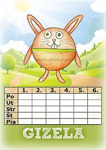 Papiernictvo - Linajková podložka a rozvrh hodín v jednom (3) - zajac - 5727457_