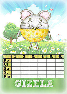 Papiernictvo - Linajková podložka a rozvrh hodín v jednom (4) - myška - 5727824_