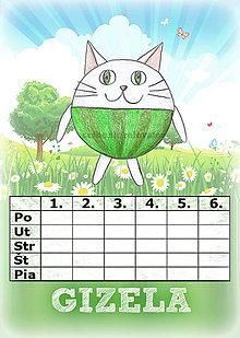 Papiernictvo - Linajková podložka a rozvrh hodín v jednom (4) - mačka - 5727827_