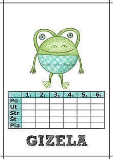 Papiernictvo - Linajková podložka a rozvrh hodín v jednom (5) - žaba - 5728339_