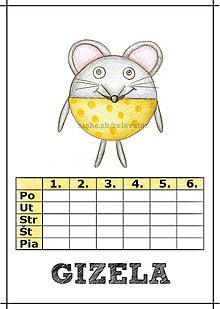 Papiernictvo - Linajková podložka a rozvrh hodín v jednom (5) - myš - 5728345_