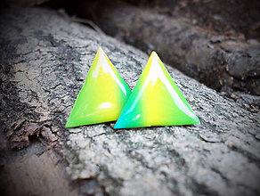 Náušnice - Trojuholníky 20 mm dúhové - 5732447_