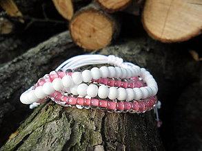 Náramky - Uzlíkový bielo-ružový (2x2) - 5731087_