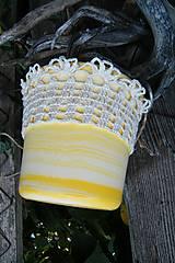 Úžitkový textil - Obháčkovaný obal na kvetináč - 5732294_