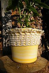 Úžitkový textil - Obháčkovaný obal na kvetináč - 5732296_