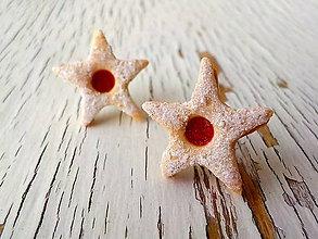 Náušnice - linecké hviezdičky - napichovačky (5 cípe) - 5731954_