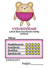 Papiernictvo - Letné vysvedčenie Guľkáči macko (štrikovaní) - 5729856_