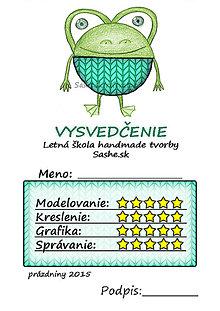 Papiernictvo - Letné vysvedčenie Guľkáči žabka (štrikovaní) - 5729965_