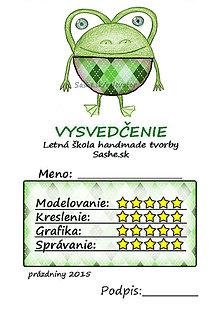Papiernictvo - Letné vysvedčenie Guľkáči žabka (károvaní) - 5730003_