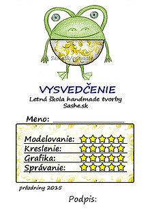 Papiernictvo - Letné vysvedčenie Guľkáči žabka (folk) - 5730114_