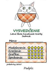 Papiernictvo - Letné vysvedčenie Guľkáči mačka (látkoví) - 5730613_
