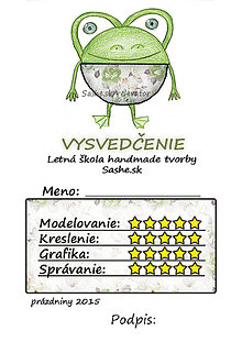 Papiernictvo - Letné vysvedčenie Guľkáči žabka (ružičkoví) - 5731168_