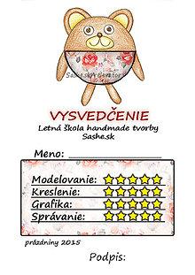 Papiernictvo - Letné vysvedčenie Guľkáči macko (ružičkoví) - 5731195_