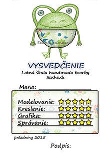 Papiernictvo - Letné vysvedčenie Guľkáči žabka (kvetoví) - 5731481_