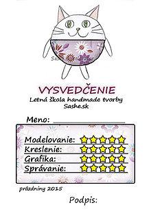 Papiernictvo - Letné vysvedčenie Guľkáči mačka (kvetoví) - 5731487_