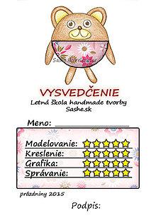 Papiernictvo - Letné vysvedčenie Guľkáči macko (kvetoví) - 5731496_