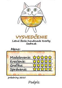 Papiernictvo - Letné vysvedčenie Guľkáči mačka (jesenní) - 5731555_