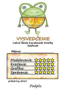 Papiernictvo - Letné vysvedčenie Guľkáči žabka (jesenní) - 5731557_