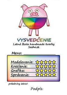 Papiernictvo - Letné vysvedčenie Guľkáči prasiatko (dúhoví) - 5732116_