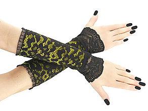Rukavice - Dámské rukavice žlté s čipkou 01U - 5734299_