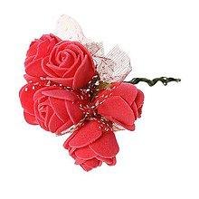 Iný materiál - Penové ruže pr. 2 cm - červená - 1 zväzok/12 ks (KV-ad-001) - 5735994_
