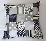 Úžitkový textil - Patchwork - vankúš sivé kocky - 5735309_