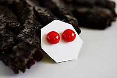 Náušnice - MINI sklenené náušničky - Červené - 5734205_