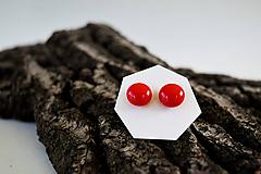 Náušnice - MINI sklenené náušničky - Červené - 5734206_