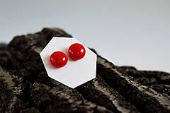 Náušnice - MINI sklenené náušničky - Červené - 5734207_