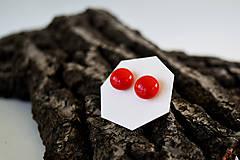 Náušnice - MINI sklenené náušničky - Červené - 5734208_