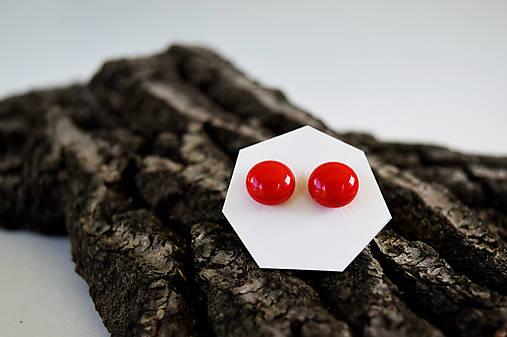 MINI sklenené náušničky - Červené