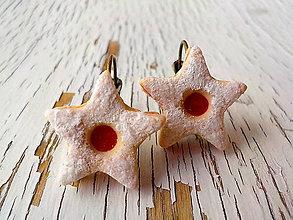 Náušnice - linecke hviezdicky na francuzskom haciku (bronzový háčik) - 5735556_