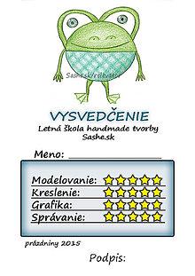 Papiernictvo - Letné vysvedčenie Guľkáči žabka (:D) - 5733396_
