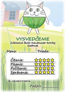 Papiernictvo - Letné vysvedčenie Guľkáči mačka (s pozadím) - 5733552_