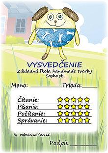 Papiernictvo - Letné vysvedčenie Guľkáči psík (s pozadím) - 5733558_