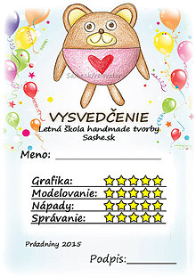 Papiernictvo - Letné vysvedčenie Guľkáči macko (a balón) - 5733690_