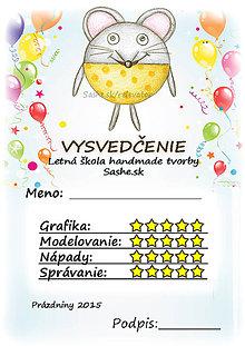 Papiernictvo - Letné vysvedčenie Guľkáči myš (a balóny -) - 5733705_